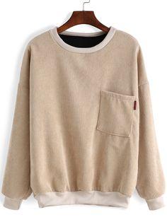 Round Neck Pocket Loose Sweatshirt-romwe