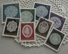 Set of 8 Lace Postage Stamps Hungary 1960 by TeapotsandTelephones, $1.95