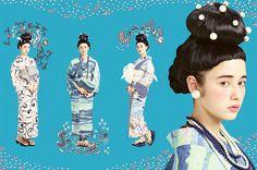 yukata by ふりふ Traditional Kimono, Traditional Outfits, Japanese Kimono, Japanese Girl, Kimono Fashion, Fashion Wear, Modern Kimono, Yukata Kimono, Summer Kimono