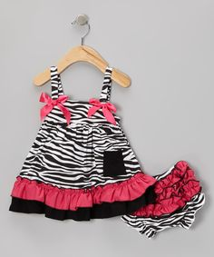 Look at this Pink Zebra Swing Top & Diaper Cover - Infant on #zulily today!
