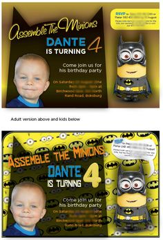 Batman Minion Party for a old boy, e-invitations for kids and a slightly less whimsical one for the adults Batman Minion, Minions, 6 Year Old Boy, Batman Party, Minion Party, Young At Heart, Third Birthday, 4 Year Olds, Old Boys