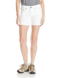 prAna Women's Kara Shorts, White, Size The soft stretch denim of the prAna Kara Short is made from organic cotton. Side embroidery and a roll-up hem add fresh fun details. Camping And Hiking, Hiking Gear, Hiking Essentials, Stretch Denim, Kara, Organic Cotton, White Shorts, Casual Shorts, Stuff To Buy