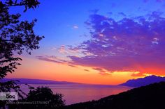 Sunset in Baska Voda by spikerbagger  Baska Voda Clouds Colorful Croatia Landscape Mountains Nature Sea Sky Sunset Travel Sunset in Baska