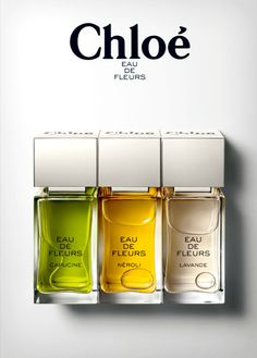 Chloe - Eau De Fleurs - Capucine [more powerful citrus scent with deeper notes that work really well in winter! ♥ this, i hope they keep making it. ] -its the green one btw (haven't tried the other Parfum Chloe, Chloe Perfume, Perfume Scents, Perfume Bottles, Boutique Parfum, Perfume Packaging, Cosmetic Packaging, Cosmetic Design, Cosmetics & Perfume