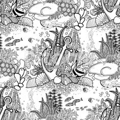 Anchor and coral reef pattern royalty-free stok vektör sanatı Adult Coloring Pages, Beach Coloring Pages, Colouring Pages, Coloring Books, Coral Reef Drawing, Coral Reef Art, Doodle Coloring, Free Coloring, Painting Patterns