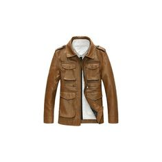 Motorcycle Style Outdoor PU Leather Multi Pockets Epaulets Jacket for... (120 BAM) ❤ liked on Polyvore featuring men's fashion, men's clothing, men's outerwear, men's jackets, brown, mens brown leather motorcycle jacket, mens pleather jacket, mens short sleeve jacket, mens motorcycle jackets and mens slim jacket