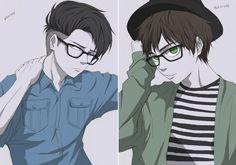 Levi / Eren - Glasses by nikki-yan32 on Deviant Art.
