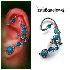 Blue wire wrapped ear cuff Cartilage earring No by rsuniquejewel