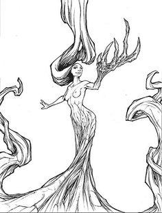 Illustration d'une femme arbre