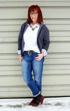 boyfriend jeans, white button down, statement necklace, hoodie, burgundy pumps