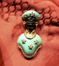Blackamoor Brooche Stars!  18 kt yellow gold diamonds Natural Turquoise hand made sculpt, ebony head size 4.7 cm width 2.5 cm - Dogale Jewellery - Venice Italia