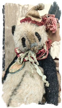 "handmade by Wendy Meagher of Whendi's Bears - An Original ONE OF A KINDapprox 11.5"" Tall - Antique Style  Aged Vintage cream"