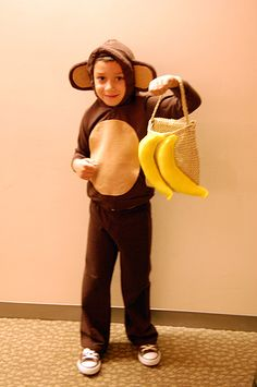 DIY Monkey costume - brown hoodie & sweatpants, plus felt tummy & ears