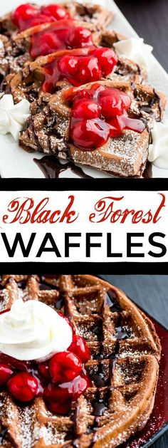 Black Forest Waffles are your new favorite breakfast food. A rich chocolate waffles is sprinkled in powdered sugar, drizzled in chocolate syrup, topped with cherries and whip cream!
