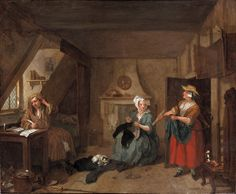 The Distressed Poet, William Hogarth, 1733-5 This typically Hogarth scene was probably inspired by Alexander Pope's 'The Dunciad' about a man of limited writing ability who lived in poverty but nevertheless pursued a career in literature, and was created as a companion piece to 'The Enraged Musician', also by the artist.