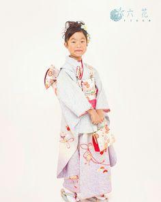 七五三 七歳女の子着物レンタル・着付け・ヘアメイク・撮影 ブルーぼかし絞り