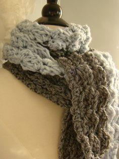 Scarf  Slate Grey Ice Blue Asymmetrical Crochet by AuntieDawn, $40.00