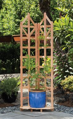 Three of these with attached weighted curtains in between and plants lining the other side Planter Trellis | Pot Trellis | Powder-Coated Steel | Gardener's ...