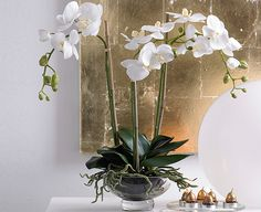 White Triple Phalaenopsis Moth Orchid in Glass Bowl. Silk flowers from Bloom