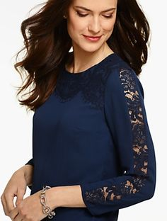 Talbots - Lace-Detailed Blouse | | Misses Discover your new look at Talbots. Shop our Lace-Detailed Blouse for stylish clothing and accessories with a modern twist at Talbots