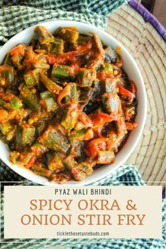 Spicy Okra and Onion Stir Fry (Bhindi Pyaz Wali) Vegetarian Barbecue, Barbecue Recipes, Oven Recipes, Vegetarian Cooking, Spicy Recipes, Indian Food Recipes, Vegetarian Recipes, Cooking Recipes, Italian Cooking