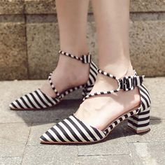 Shoespie Pointed Toe Stripe Low Chunky Heel|Heel Height:5.5cm