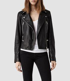 Womens Bleeker Leather Biker Jacket (Washed Black) | ALLSAINTS.com