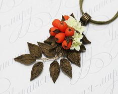 Rowan berry necklace. Red berries necklace. Fall leaves autumn necklace. Polymer clay jewelry. Artisan polymer clay floral pendant necklace