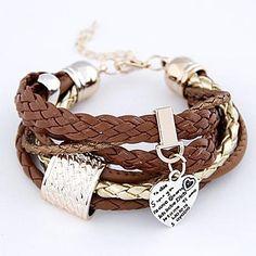 pulseira de couro múltiplas camadas moda europeus e americanos simples de metal pingente de coração pulseira cortical – BRL R$ 13,65