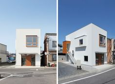 This modern two story building in Shiga, Japan, serves two different uses. The ground floor acts as a cozy café, whereas on the second floor you'll find a