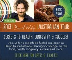 """Just spent a weekend being inspired & educated by David Wolfe talking raw food, super foods, herbs & longevity. """"Live-it, don't die-it"""""""