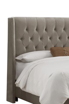 Full Diamond Tufted Wingback Headboard - Regal Smoke. dieing for a bed like this!