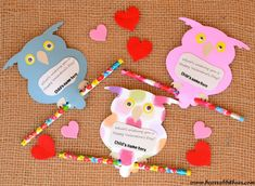 Cute idea for a Valentine for a child.Owl Valentine's - It Happens in a Blink