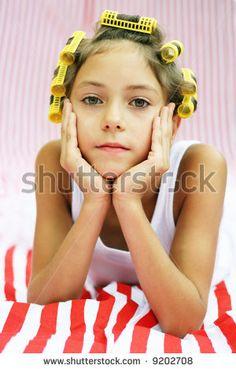 monochromatic salon theme-hair rolls