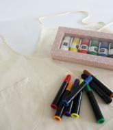 Knutselpakket voor workshop kinderfeestje: zelf je eigen schort maken!