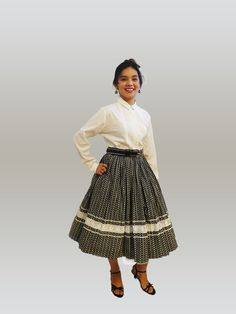 1950s College Teens   Circle Skirt  hearts by AuntieEstablishment