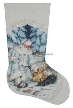 Santa Pets & Presents stocking painted canvas by Susan Roberts, Artwork by Liz Goodrick Dillon Size: x Mesh Count: 18 Cross Stitch Christmas Stockings, Cross Stitch Stocking, Christmas Stocking Kits, Xmas Stockings, Christmas Cross, Stocking Ideas, Christmas Houses, Blue Christmas, Christmas Ideas