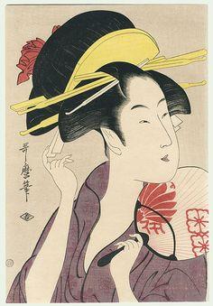 Beauty with Fan by Utamaro - Japanese Drawings, Japanese Artwork, Japanese Tattoo Art, Japanese Painting, Japanese Prints, Japanese Illustration, Illustration Art, Oriental, Traditional Japanese Art