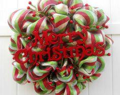 Christmas Deco Mesh Wreath - Merry Christmas -