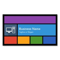 Computer Retailer Repair - Colorful Tiles Creative Business Cards