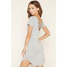 Forever 21 Women's  Crisscross Knit Dress ($13) ❤ liked on Polyvore featuring dresses, criss-cross dress, criss cross dress, round neck dress, criss cross back dress and short-sleeve dresses