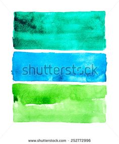 Watercolor stripes. Hand drawn watercolor painting - stock photo