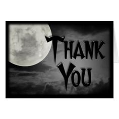 Gothic moon halloween wedding Thank You Cards