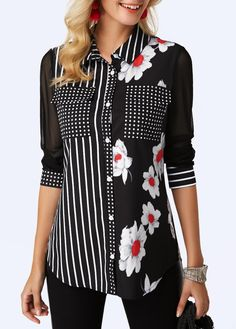 Women Fashion Black Floral Print Blouse Button Up Curved Hem Printed Black Shirt Stylish Tops For Girls, Trendy Tops For Women, Blouses For Women, Red Blouses, Shirt Blouses, Creation Couture, Blouse Designs, Fashion Outfits, Clothes