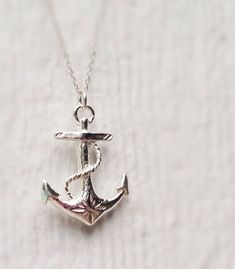 Anchor Necklace  Sterling Silver  Nautical  by jewelrybycarmal, $45.00