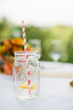 love these striped straw mason jars! | Kate Triano #wedding