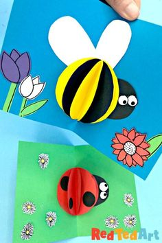 3d Paper Bee Card - Pop Up Cards for Kids - Red Ted Art - Make crafting with kids easy & fun Animal Crafts For Kids, Summer Crafts For Kids, Art For Kids, Kid Crafts, Fall Crafts, 3d Paper, Paper Crafts, 1st Grade Crafts, Project Red