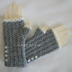 (4) Name: 'Crocheting : Romance Fingerless Mitts