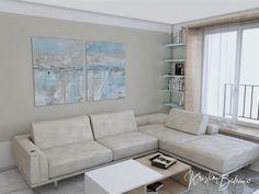 Modrá ako vítané osvieženie - Kristína Bedečová Living Room Kitchen, Couch, Furniture, Home Decor, Settee, Decoration Home, Sofa, Room Decor, Kitchen Living