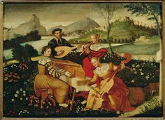 RENAISSANCE PAINTING 16TH   Anonymous Italian painter  Concert in the country:instrumental music. Canvas   Musee de l'Hotel Lallemant, Bourges, France